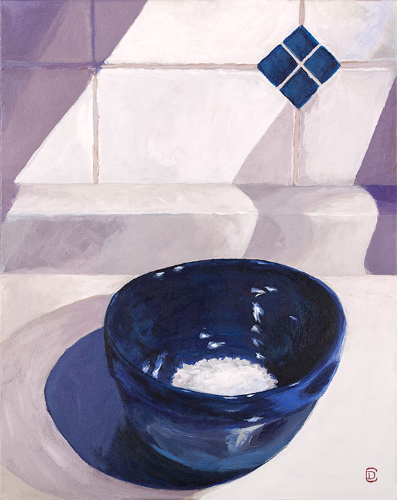 "Title:  ""Blue Bowl / White Rice""    Acrylic on canvas"