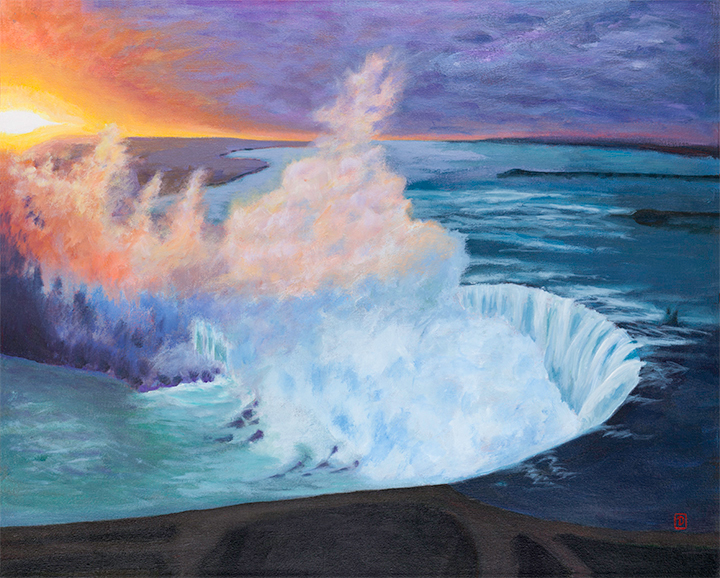 "Title:   ""April Dawn / Niagara""     Acrylic painting on canvas, by NH Artist Denise Clark"