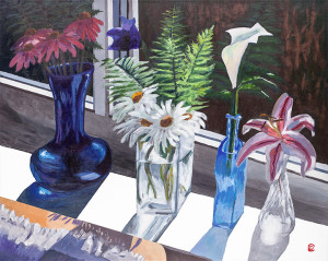 """Title:   """"Blinking at the Windowsill""""    Acrylic on canvas, by NH artist Denise Clark"""