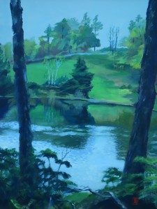 "Title; ""Gray Day / April"" :  Acrylic on canvas, by NH artist Denise Clark"