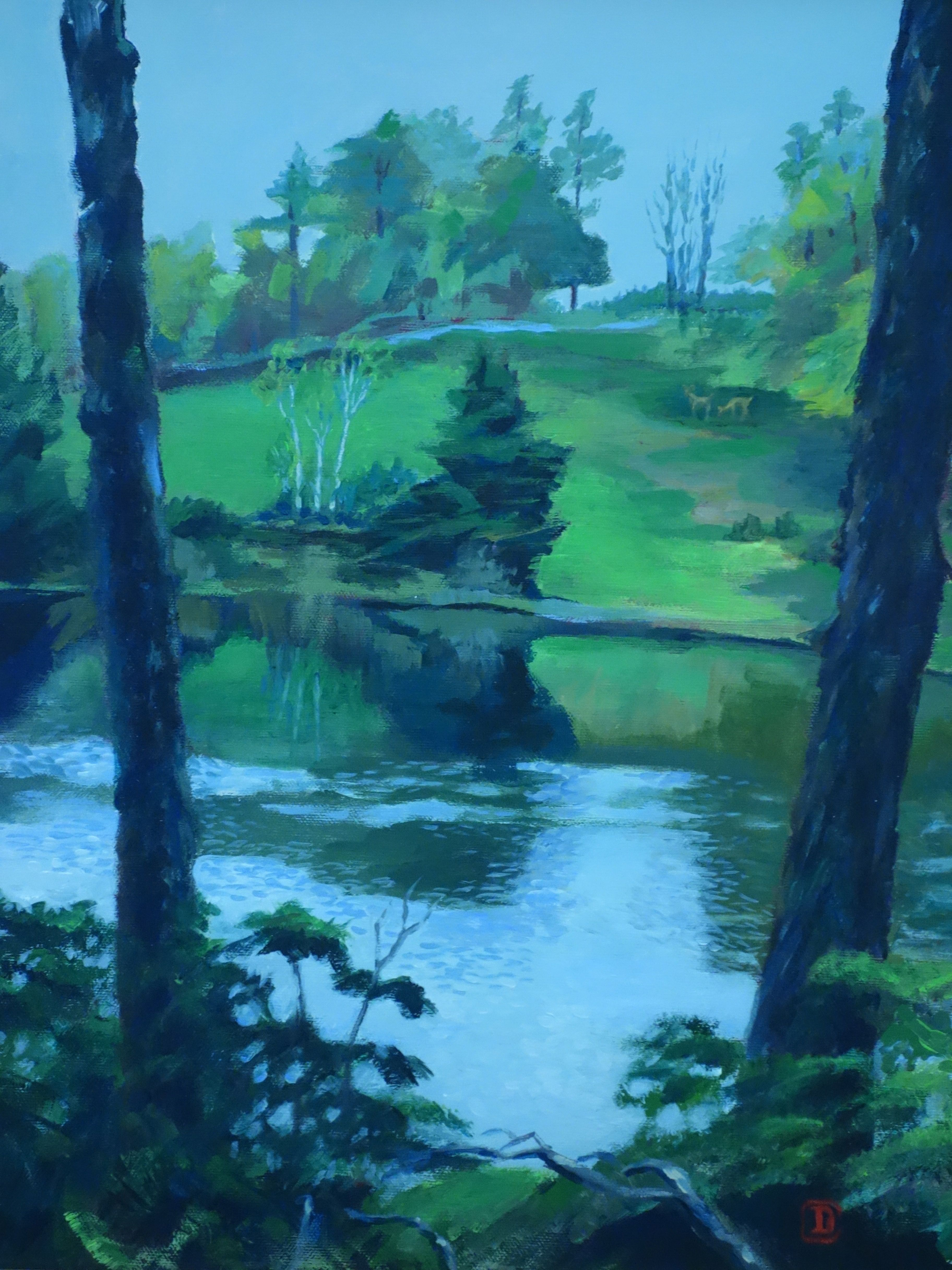 """Title; """"Gray Day / April"""" :  Acrylic on canvas, by NH artist Denise Clark"""