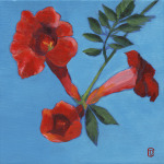"Title:  ""Trumpet Vine"" / Acrylic on canvas, by NH artist Denise Clark"