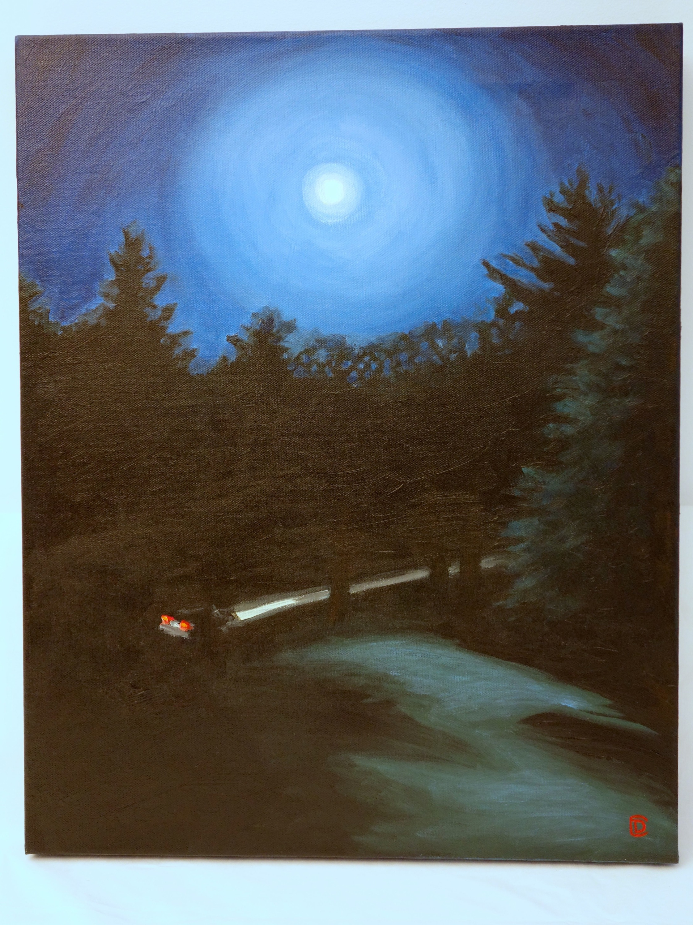 """Title: """"I Drive Alone"""" / Acrylic on canvas, by NH artist Denise Clark"""