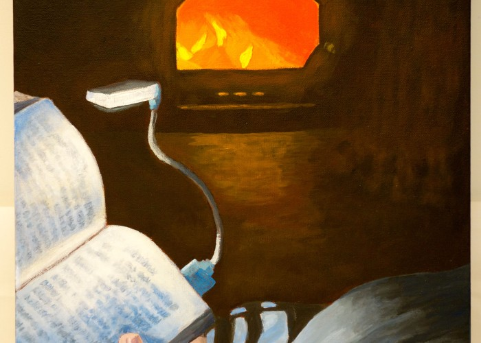 "Title: ""A Little Light / Reading: That time we lost power and…"" Acrylic on canvas, by NH artist Denise Clark"