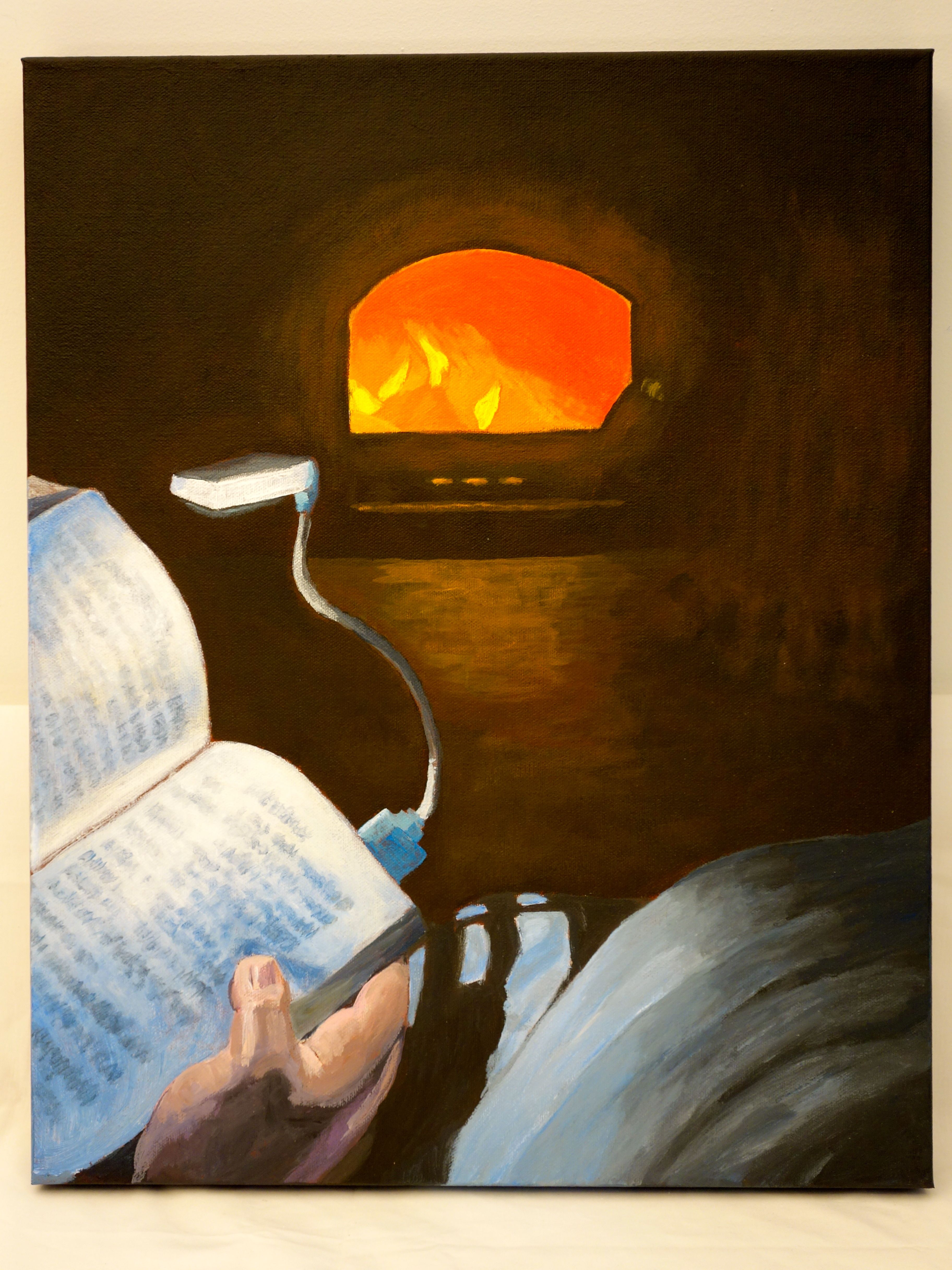 """Title: """"A Little Light / Reading: That time we lost power and…"""" Acrylic on canvas, by NH artist Denise Clark"""