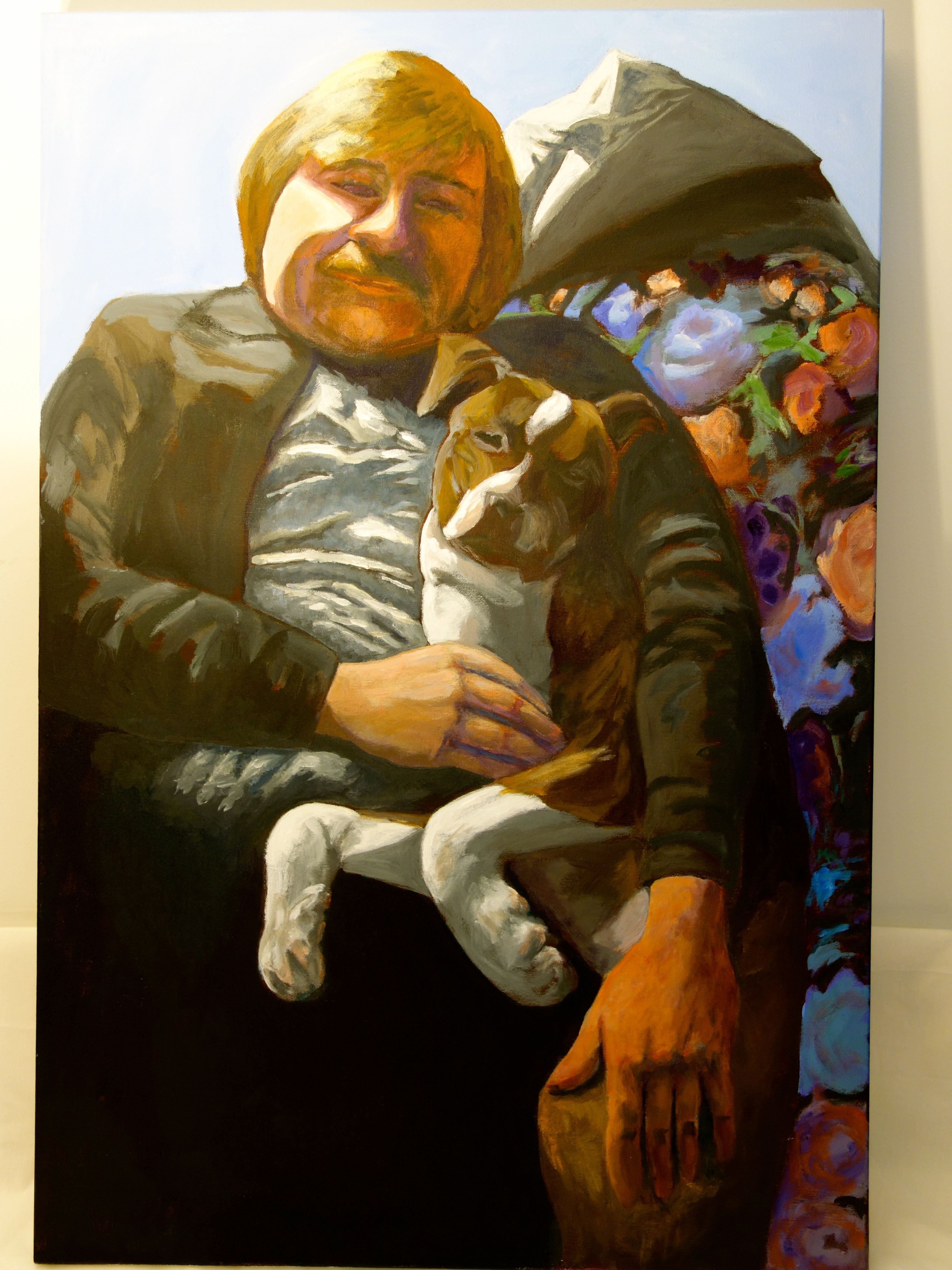 """Title: """"Max Montana and JawKnee RawKet"""" / Acrylic on canvas, by NH artist Denise Clark"""