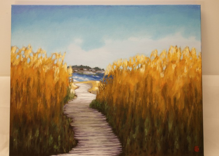 "Title: ""Walk Through the Reeds"" / Acrylic on canvas, by NH artist Denise Clark"