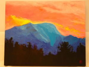 "Title: ""Pink Dawn at Blue Mountain"" / Acrylic on canvas, by NH artist Denise Clark"