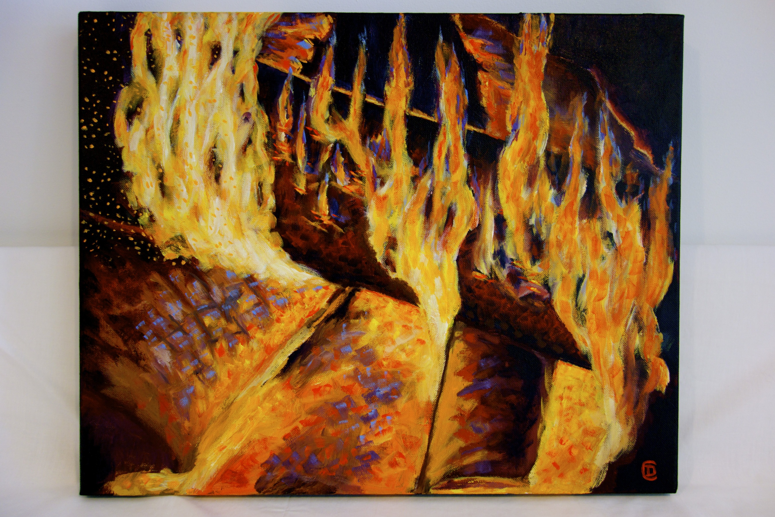 "Title: ""Firebox"" / Acrylic on canvas, by NH artist Denise Clark"