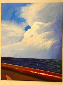"Title:  ""Change in the Weather on the Provincetown Ferry"" / Acrylic on canvas, by NH artist Denise Clark"