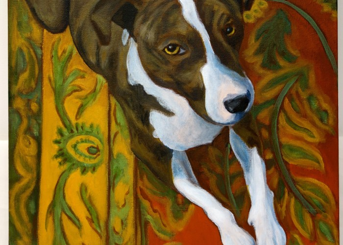 "Title: ""Sly Eye"" / Acrylic on canvas, by NH artist Denise Clark"